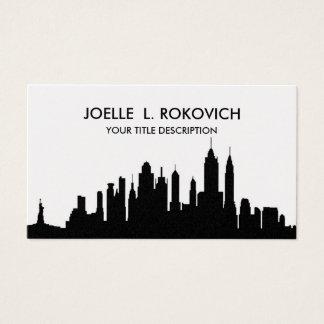 Cartão De Visitas Genérico preto & branco da silhueta da skyline de