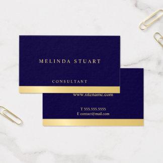 Cartão De Visitas Geométrico elegante dos azuis marinhos e do ouro