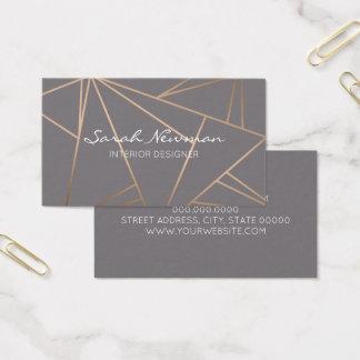 Cartão De Visitas Geométrico minimalista moderno elegante do ouro