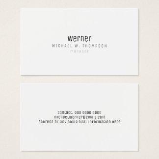 Cartão De Visitas gerente simples elegante profissional minimalista