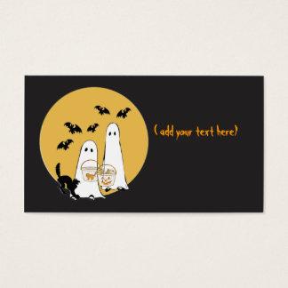 Cartão De Visitas ghosties do Dia das Bruxas no preto,
