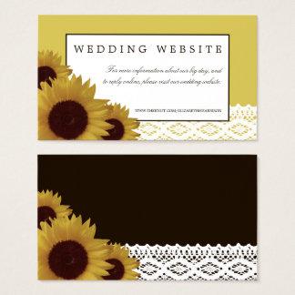 Cartão De Visitas Girassóis e Web site do casamento do laço do