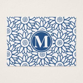 Cartão De Visitas Girassol azul clássico do monograma