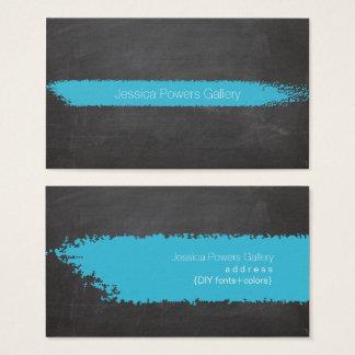 Cartão De Visitas Giz do azul do quadro/Aqua de PixDezines
