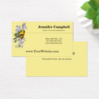 Cartão De Visitas Goldfinch e flores brancas de Apple