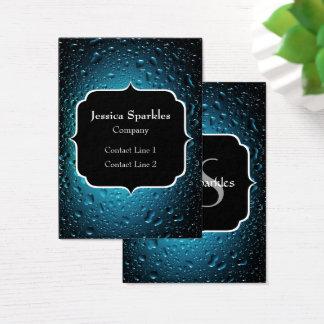 Cartão De Visitas Gotas legal da água azul do na moda com monograma