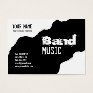 Cartão De Visitas Gráfico preto e branco rasgado do Grunge da banda