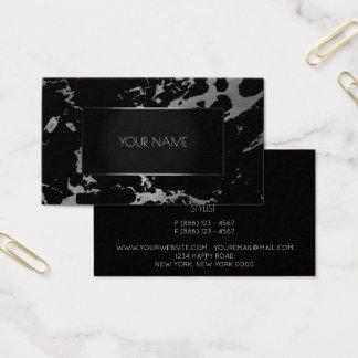 Cartão De Visitas Grafite de prata preta cinzenta de mármore do