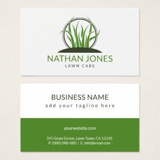 Cartão De Visitas Grama verde que ajardina o contratante do ícone do