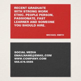 Cartão De Visitas Grandes citações corajosas minimalistas