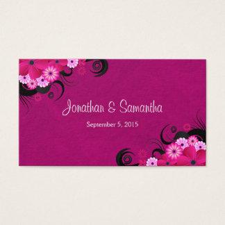 Cartão De Visitas Grandes Tag florais fúcsia claros do favor do