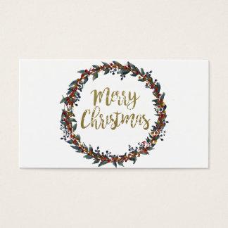 Cartão De Visitas Grinalda da aguarela - Feliz Natal - ramos