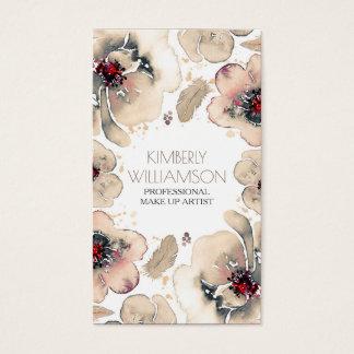 Cartão De Visitas Grinalda das penas de Boho das flores da aguarela