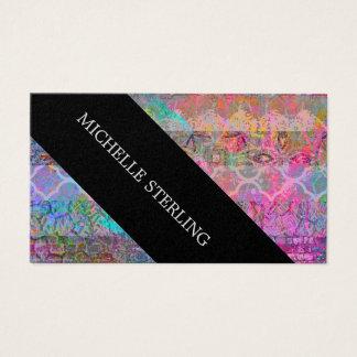 Cartão De Visitas Grunge bonito do abstrato do Bohemian da aguarela