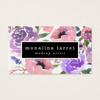 Cartão De Visitas Grupo floral roxo cor-de-rosa brilhante da