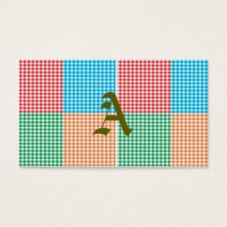 Cartão De Visitas guingão, retalhos, verde, vermelho, branco,