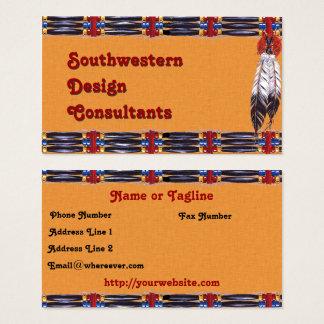 Cartão De Visitas Hairpipe do sudoeste e penas