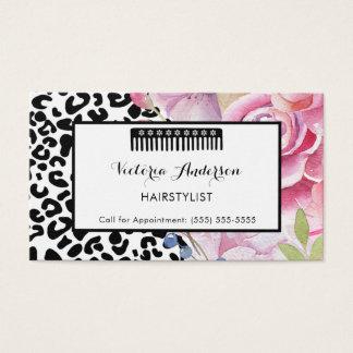 Cartão De Visitas Hairstylist floral do impressão na moda do