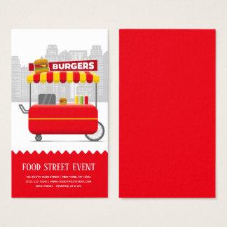 Cartão De Visitas Hamburger dos hamburgueres da rua da comida