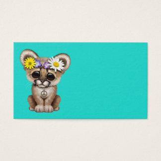 Cartão De Visitas Hippie bonito de Cub do puma