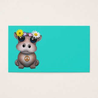 Cartão De Visitas Hippie bonito do hipopótamo do bebê