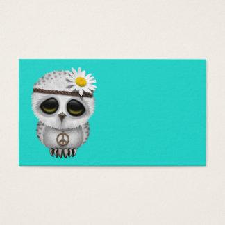 Cartão De Visitas Hippie nevado da coruja do bebê bonito