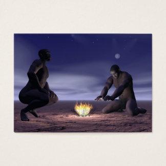 Cartão De Visitas Homo erectus e fogo - 3D rendem