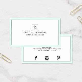 Cartão De Visitas Hortelã elegante do ★