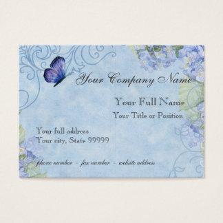 Cartão De Visitas Hydrangeas azuis, borboleta & floral moderno do