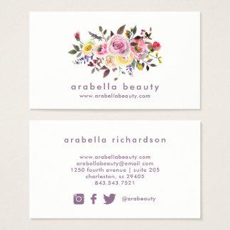 Cartão De Visitas Ícones florais dos meios do Social da aguarela