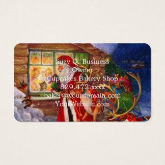 Cartão De Visitas Ilustração de Papai Noel - ilustrações do Natal