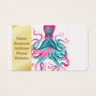 Cartão De Visitas Ilustração do polvo - vintage - kraken