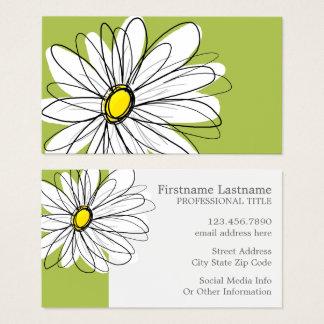 Cartão De Visitas Ilustração floral da margarida na moda - limão e