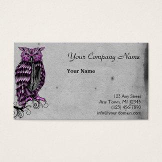 Cartão De Visitas Ilustração gótico roxa da coruja