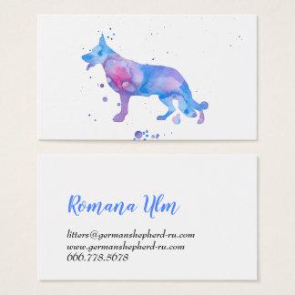 Cartão De Visitas Ilustração moderna azul do cão do pastor da