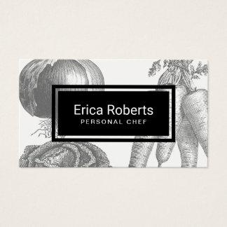 Cartão De Visitas Ilustração pessoal do vegetal do vintage do