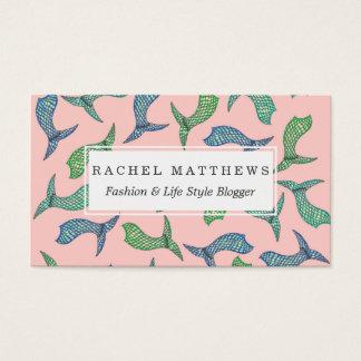 Cartão De Visitas Ilustrações da cauda da sereia do verão no azul da