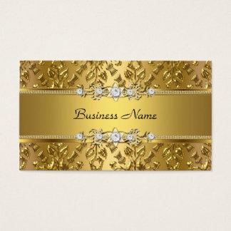 Cartão De Visitas Imagem gravada do ouro damasco elegante elegante