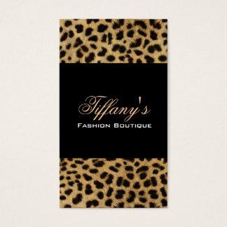 Cartão De Visitas impressão animal do leopardo do safari tribal do