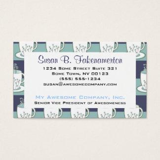 Cartão De Visitas Impressão azul bonito dos Teacups