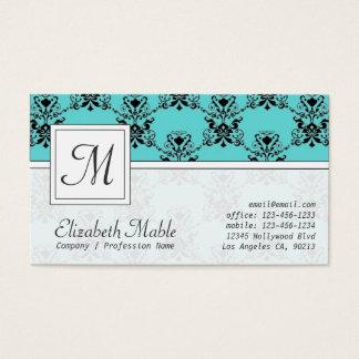 Cartão De Visitas Impressão azul e preto do monograma elegante do
