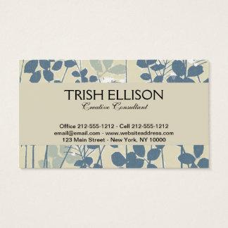 Cartão De Visitas Impressão azul floral da flor da arte asiática