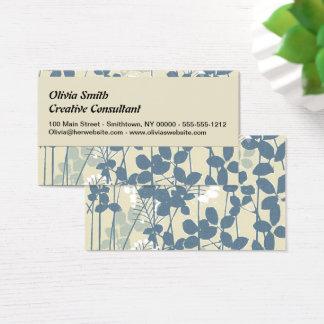 Cartão De Visitas Impressão azul floral das flores da arte asiática
