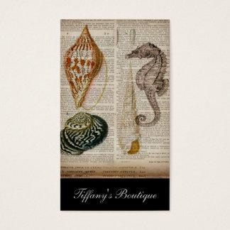 Cartão De Visitas impressão botânico do seashell francês do vintage