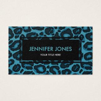 Cartão De Visitas Impressão de Jaguar do leopardo no couro azul do