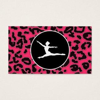 Cartão De Visitas Impressão do leopardo do rosa quente; Dançarino de