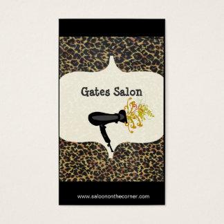 Cartão De Visitas Impressão do leopardo dos termas do salão de