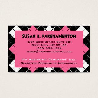 Cartão De Visitas Impressão preto e branco cor-de-rosa de Argyle