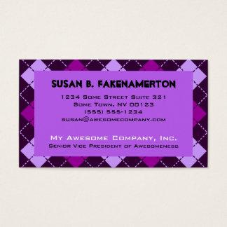 Cartão De Visitas Impressão roxo bonito de Argyle