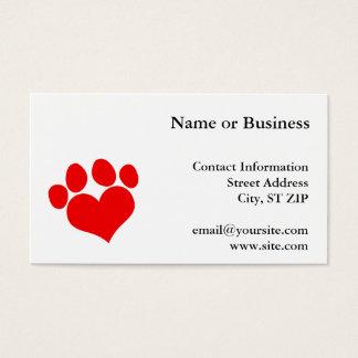 Cartão De Visitas Impressão vermelho 2 da pata do coração